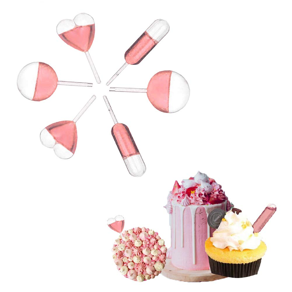 IAXSEE 200PCS 4ml Cake Dropper Plastic Squeeze Transfer Pipettes Dropper for Cup Cakes Strawberries Chocolate,3 Shapes Disposable Plastic Droppers Rectangular,Heart,Round Shape