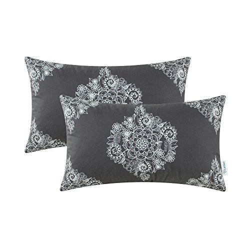 CaliTime Pack of 2 Cozy Bolster Pillow Cases Covers for Couch Bed Sofa Manual Hand Painted Print Vintage Mandala Flora 12 X 20 Inches Dark - Case Bed Pack