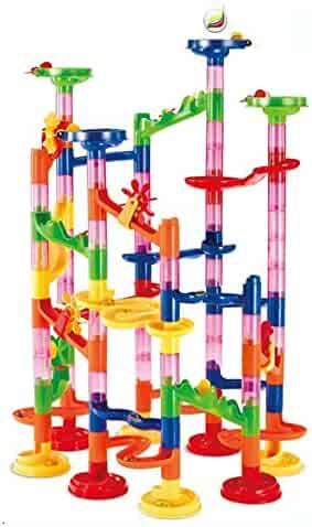 Maggift Marble Runs Toy Set Translucent Marbulous 105 Pieces 30 Glass Marbles