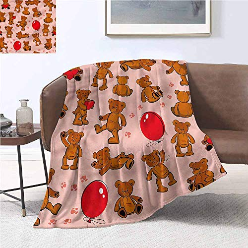 (DILITECK Microfiber All Season Blanket Kids Vintage Teddy Bear Pattern Blanket for Sofa Couch Bed W54 xL84 Traveling,Hiking,Camping,Full Queen,TV,Cabin )