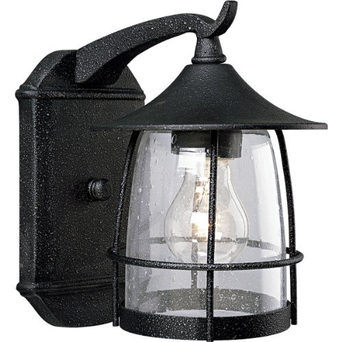 Progress Lighting P5763-71 1-Light Wall Lantern with Wire Frames and Clear Seeded Glass, Gilded Iron