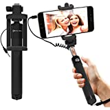 Selfie Stick : Stalion® Selfy Handheld Extended WIRED Monopod Portrait Taker & Video Recorder (Jet Black) UNIVERSAL FIT for iPhone 6 6s Plus, Galaxy S7 S6 Edge+ Note 5 and smartphones
