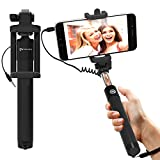 #3: Selfie Stick : Stalion Selfy Handheld Extended WIRED Monopod Portrait Taker & Video Recorder (Jet Black) UNIVERSAL FIT for iPhone 6 6s Plus, Galaxy S7 S6 Edge+ Note 5 and smartphones