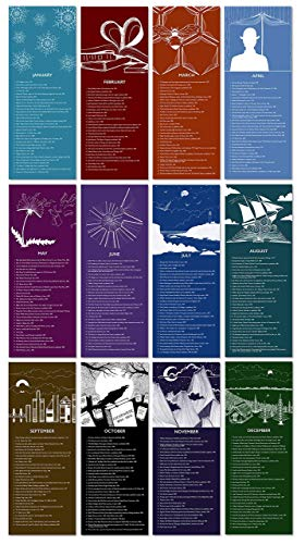 Literary Event Calendar. Twelve Months. Fine Art Paper or Laminated. Available for Home, Office, or School.