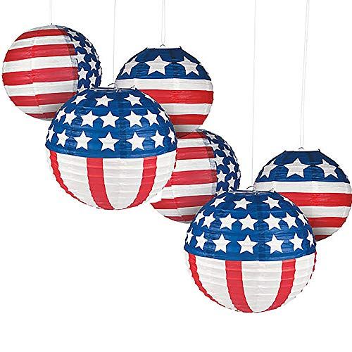 (American Flag Paper Lanterns Patriotic Forth of July, Red White and Blue - 12