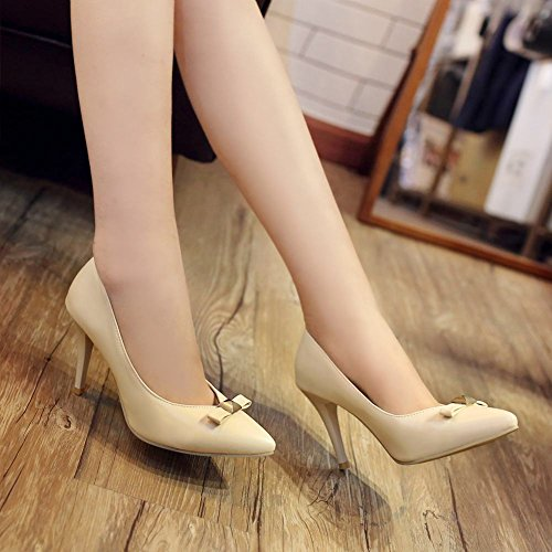 MissSaSa Damen high heel Pointed Toe Schleife Pumps mit Stiletto Aprikosen