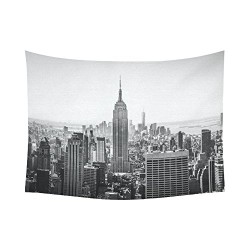 Interestprint NYC New York Skyline Cityscape Tapestry Wall Hanging Black And White Empire State Building Wall Decor Art for Living Room Bedroom Dorm Cotton Linen Decoration 80 X 60 Inches -