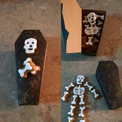 Coffin with skeleton dog treats (Meatloaf Halloween Hand)
