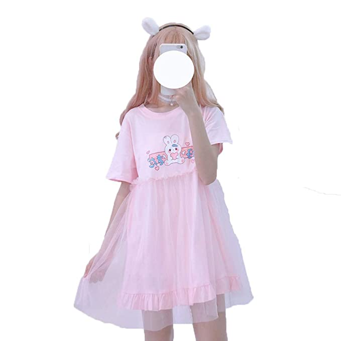 shop for best modern and elegant in fashion best place for Teen Girls Summer Dresses, Japanese Style Lovely Rabbit Print Cotton Mini  T-Shirt Dress