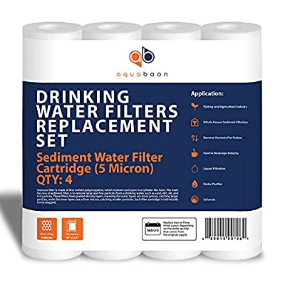 "Aquaboon 4-Pack of 5 Micron 10"" Sediment Water Filter Replacement Cartridge for Any Standard RO Unit 
