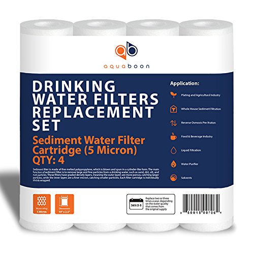 Aquaboon 5MIC-4PK 5-Micron Sediment Water Filter Cartridge 4-Pack ()