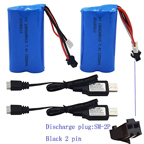 Blomiky 2 Pack H101 7.4V 1500mAh Battery and USB Charger Cable for T2 H105 H103 H101 Remote Control RC Boat H101 Battery and USB - 7.4v Li Battery Poly
