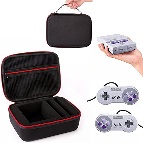 SNES Classic Mini Case, CHOI X Portable Hard Travel Carrying Case Waterproof Shockproof Dustproof Bag for Nintendo Super NES Classic Mini Console (2017), 2 Controllers, HDMI Cable, Other Accessories
