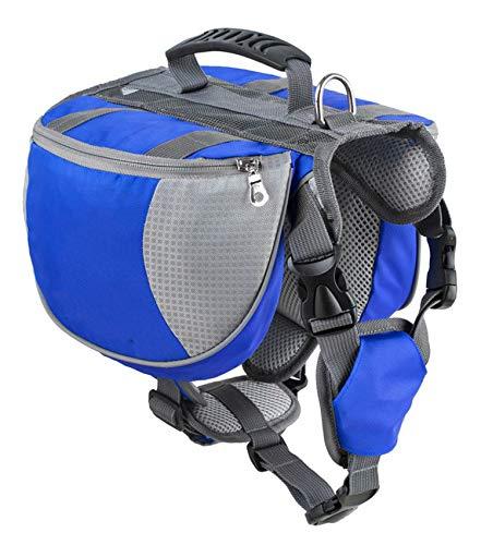 Luxury Pet Outdoor Backpack Large Dog Adjustable Saddle Bag Harness Carrier for Traveling Hiking Camping,Blue,L ()