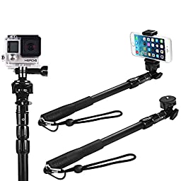 Selfie Stick, The Best Monopod Selfie Stick Waterproof-for iPhone 6 - for Gopro Hero 4, Session, Black, Silver, Hero+ LCD, 3+, 3, 2, 1 (All-Weather Edition - No Bluetooth)