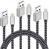 QSSTECH iphone Charger 3PCS 3FT 6FT 10FT Nylon Braided Lightning USB Cable Cord Charger Compatible with iPhone 7 7 Plus 6 6s 6 plus 6s plus, iPhone 5 5s 5c,iPad, iPod (Silver+Gray) (Black+Gray)