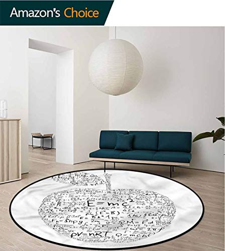 RUGSMAT Educational Art Deco Pattern Non-Slip Washable Round Area Rug,Equations Learning Pattern Floor Seat Pad Home Decorative Indoor Diameter-55 ()