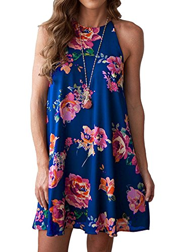 MITILLY Women's Halter Neck Boho Floral Print Chiffon Casual Sleeveless Short Dress...