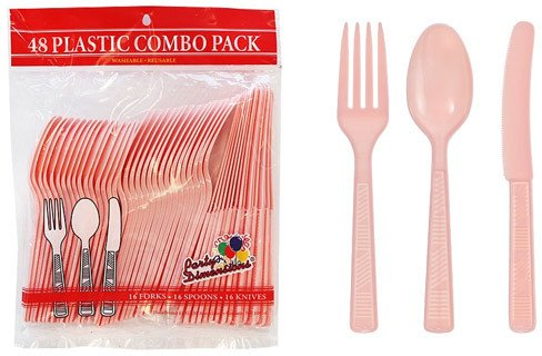Light Pink Plastic Cutlery 48 Piece Sets Case Pack 48 by Party Dimensions