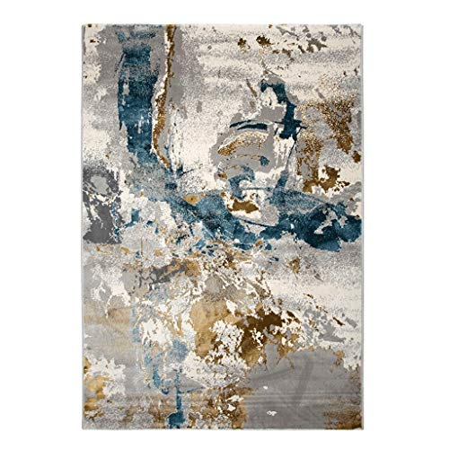 JXLBB Abstract Light Luxury Nordic Style Blended Silk Modern Abstract Gray Gold Blue Simple American Style Living Room Sofa Bedroom Coffee Table Carpet Thickness 13mm -