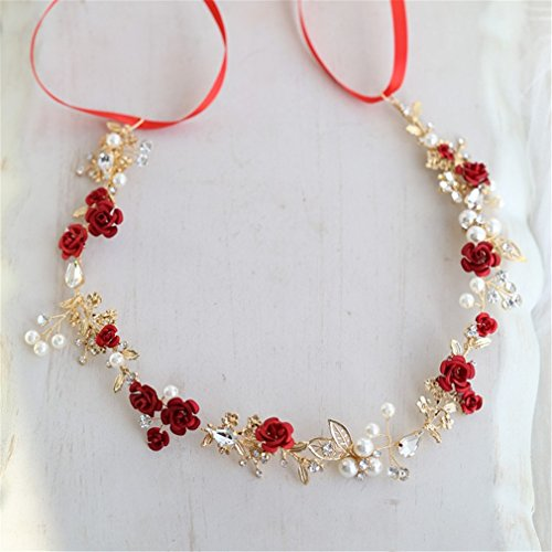 - Red Floral Bridal Hair Accessories Headband Gold Wedding Hair Comb Accessories Women Prom Headpiece Jewelry headband