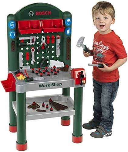 Theo Klein 8320 Bosch Workshop I 79-teilig Arbeitsplatte mit Lernfunktion I Maße: 50 cm 37 cm 102 cm I Spielzeug für Kinder ab 3 Jahren