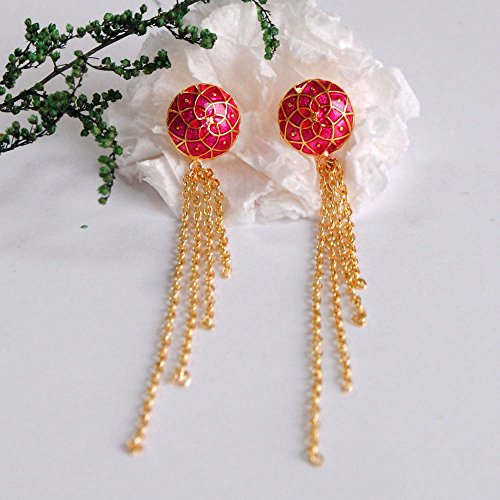 Abhika Creation's Red Enamel Stud With Dngling Golden Alloy Chains Like Waterfall Drop Hand Crafted Earrings -