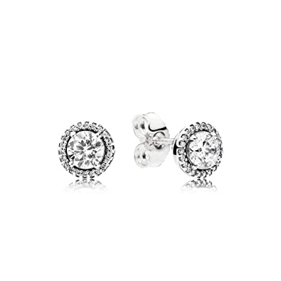 c1457707e Amazon.com: Pandora Authentic Classic Elegance Stud Earring - Sterling  Silver with Clear Cubic Zirconia - 296272CZ: Jewelry
