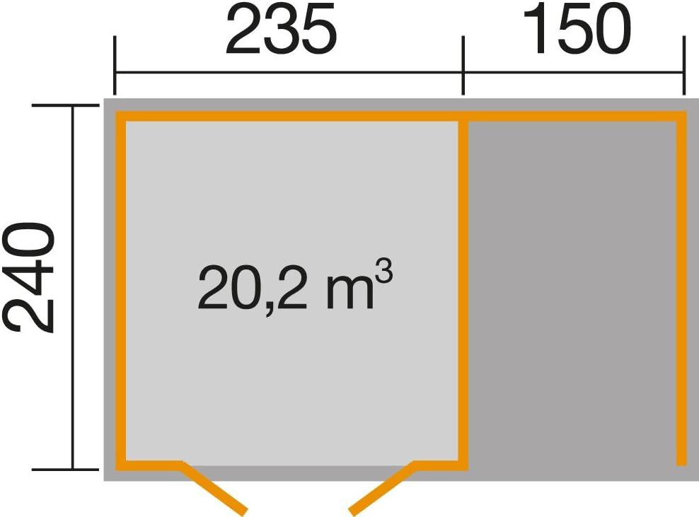 28 mm weka Gartenhaus 179 A Gr DT 2 natur Anbau 150 cm