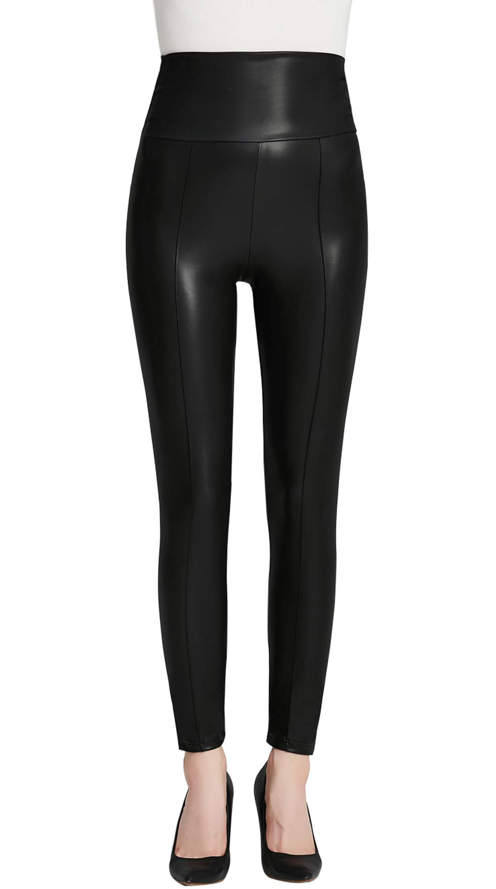 Everbellus High Waisted Faux Leather Leggings for Women Sexy Black Leather Pants X-Large by Everbellus (Image #2)