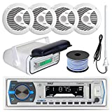 "Pyle PLMRB29W MP3 USB SD Bluetooth In-Dash Radio Receiver Bundle Combo With White Marine Stereo Housing + 4x 6 1/2"" Dual Cone Waterproof Audio Speakers = Enrock Flex AM/FM Antenna + 50Ft Speaker Wire"