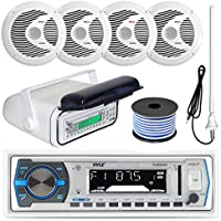 Pyle PLMRB29W MP3 USB SD Bluetooth In-Dash Radio Receiver Bundle Combo With White Marine Stereo Housing + 4x 6 1/2 Dual Cone Waterproof Audio Speakers = Enrock Flex AM/FM Antenna + 50Ft Speaker Wire