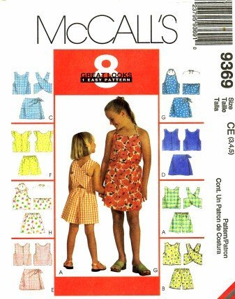 McCall's 9369 Sewing Pattern Girls Tops Shorts Skort Sets Size 3 - 4 - 5