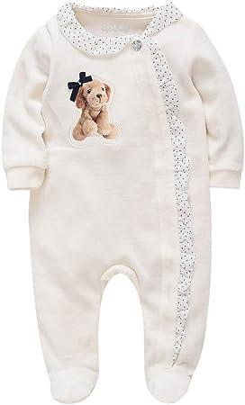 Bebé Mono Footed Mameluco Manga Larga Bodys Linda Pijamas Terciopelo Peleles 0-3 Meses