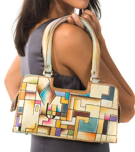 Zimbelmann Damen Baguette Handtasche aus echtem Leder - Nappaleder - handbemalt - Coco