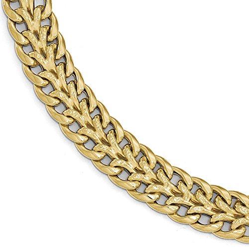 Poli et texturé Fancy 14 carats Bracelet JewelryWeb 7,5 cm