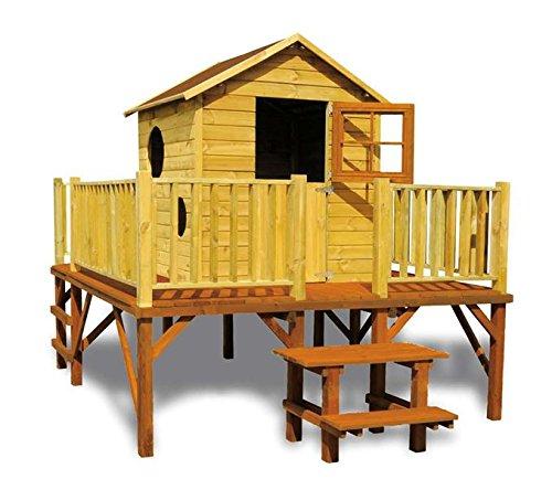 Stelzenhaus Magnus- Spielturm Holz mit Rutsche für den Garten, FSC zertifieziert/ TÜV geprüft inkl. Dachpappe (Stelzenhaus ohne Rutsche)