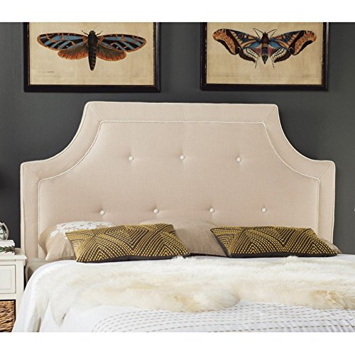 Safavieh Mercer Collection Tallulah Oyester & White Arched Tufted Headboard, (Notched Full Headboard)