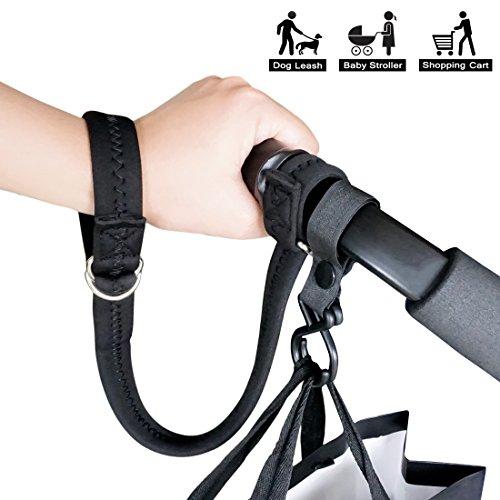 2018 Upgraded Design Baby Stroller Pram Safety Belt Wrist Strap with Stroller Hook (Black)