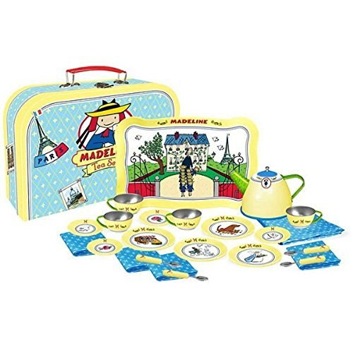 Yottoy Madeline  Deluxe Tin Tea Set 24 pieces with Carrying Suitcase