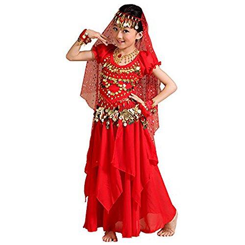 Children's India dance costumes - children's Xinjiang dance costumes - belly dance, national dance costumes (Red)