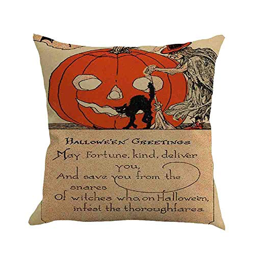 WFeieig_Halloween Velvet Soft Soild Decorative Square Throw Pillow Covers Set Cushion Case for Sofa Bedroom Car]()