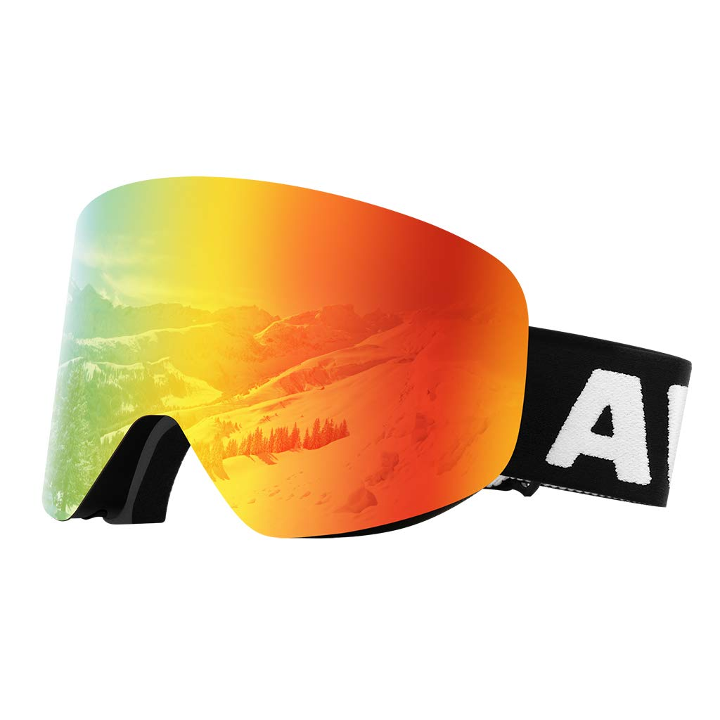 Dual Layer Cylindrical Lens Anti-Fog Detachable OTG Ski Goggles