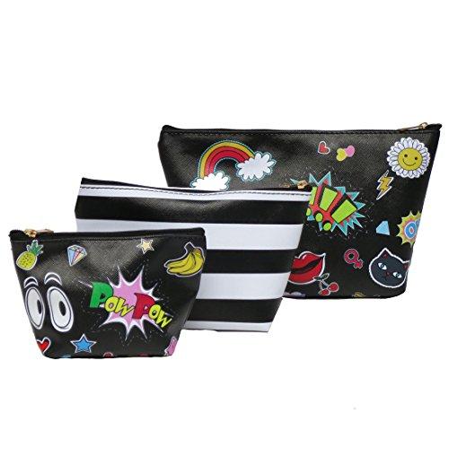 Corona Collection Print Makeup Bag Set of 3 Lips Rainbow Stripes ()