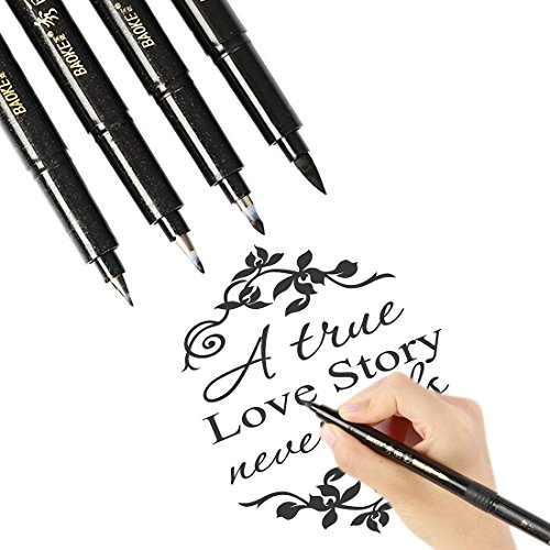 Lettering Pens Brush Lettering Pens Markers for Beginners Writing Drawing - 4 Sizes Black Ink Calligraphy Pens Art Marker Set for Bullet Journaling Card Making, Refillable ()
