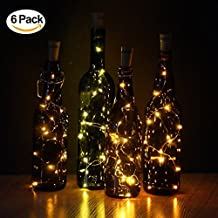 Warm White Wine Bottle Cork Lights, 6 Packs Copper Wire Fairy Starry LED String Lights for Bottle DIY, Party, Decor, Christmas, Halloween, Wedding or Home Mood Lights