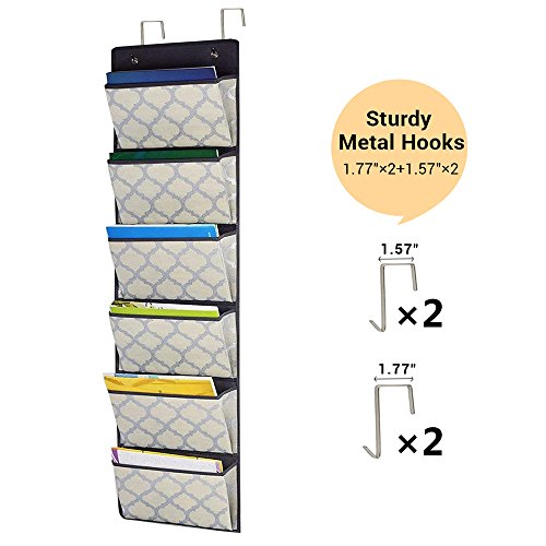 Over the Door Hanging File Organizer, Fabric Office Supplies Wall Mount Collapsible Storage Folder Holder for Home Organization, School Pocket Chart, Office Bill Filing, 6 Pockets Beige Grey