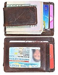 Easyoulife Mens Money Clip Wallet Genuine Leather RFID Blocking Slim Front Pocket Wallet Strong Magnet (Coffee)