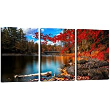 "Red Maple Leaves Canvas Wall Art,3 Panels 16""x24"" Each Piece,autumn Scenery Canvas Prints for Home Decor,lake Picture Prints on Canvas Framed and Ready to Hang"