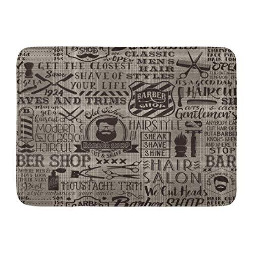 Koperororo Doormats Bath Rugs Outdoor/Indoor Door Mat Vintage Barber Tartan Barbershop Salon Badge Beard Cut Bathroom Decor Rug 16